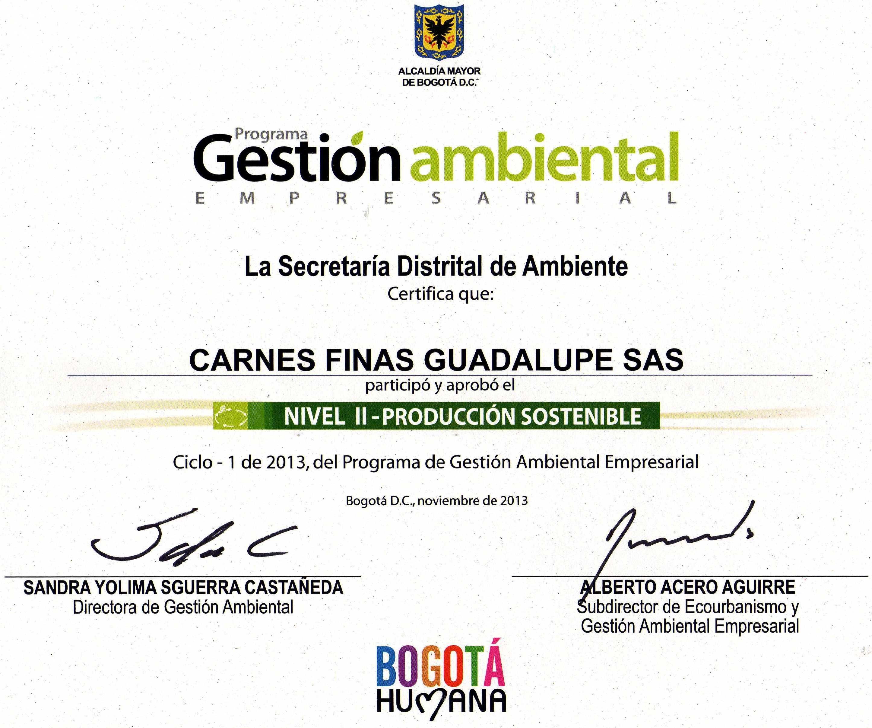Certificado Programa Ambiental Empresarial Nivel 2 En Busca de la Calidad